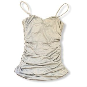 NWT SOFT grey sweetheart neckline ruched tank top